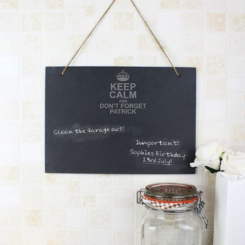 Personalised Keep Calm Hanging Slate Sign